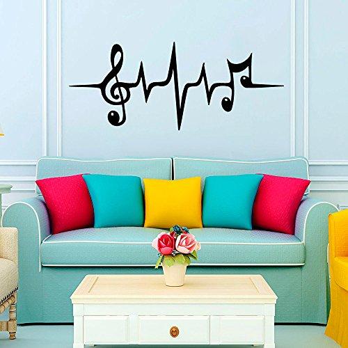 Adhesivos de pared corazón notas musicales música micrófono de estudio dormitorio baño adhesivo de vinilo decoración de la pared murales para pared