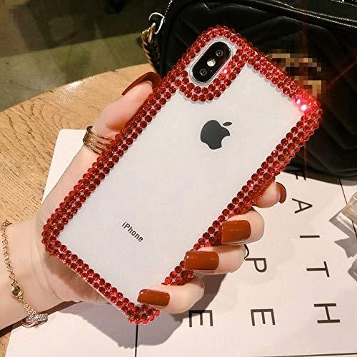 LIUYAWEI para iPhone 11 12 Mini Pro X XS MAX XR Estuche para teléfono Diamante de imitación de Lujo Acrílico Cristal Transparente para iPhone 6 6S 7 8 Plus Coque, Diamante Rojo, para iPhone 11