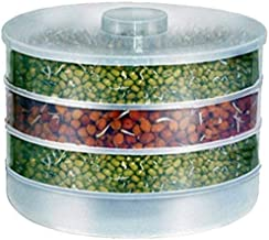 Wazdorf Plastic Hygienic Sprout Maker Box with 4 Container Organic Home Making Fresh Sprouts Makers for Home Material Box Container Sprouted Grains Seeds Dal Channa Chole Ragi Organic Sprouting Jar
