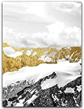 YTGDFB 3PCS Golden Snow Mountain Golden Mountain Abstract Wall Art Print Canvas Painting Decorative Picture for Home Decor...