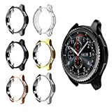 FitTurn Compatible with Gear S3 Frontier SM-R760 Case,Soft TPU Fashion Metal Color Frame Shock Resistant Proof Cover Protector Shell for Samsung Gear S3 Frontier SM-R760, Galaxy Watch 46mm SM-R800