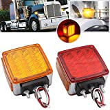 2x Truck Trailer Pedestal Stop Turn Tail Light - Amber/Red 39 Square LED