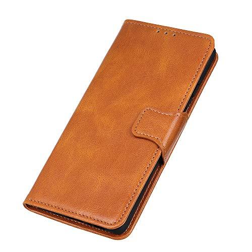 HAOTIAN Funda para Motorola Moto G9 Plus, [Flip Stand/Card Slot] Cuero a Prueba de Golpes Case con Magnético/Soporte, Silicona TPU Bumper Leather Carcasa, Flip Cartera Wallet Cover, Marrón