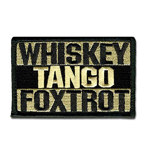 BASTION Morale Patches (Whiskey Tango Foxtrot, Tan) | 3D Embroidered Patches with Hook & Loop Fastener Backing | Well-Made Clean Stitching, Military Patches for Tactical Bag, Hats & Vest