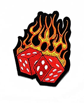 HHO Dice Fire Flame Tattoo Biker Rider Patch for Bags Jackets Jeans Clothes
