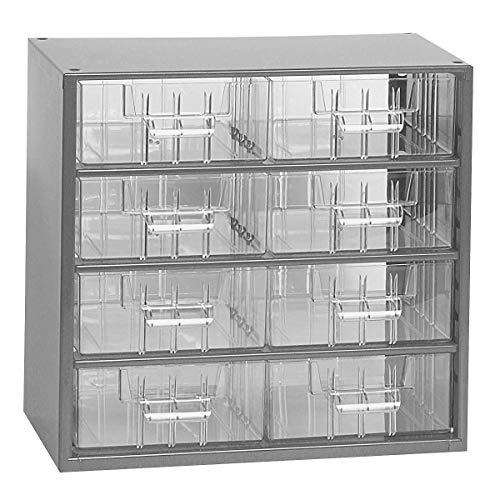 Certeo Schubladenmagazin aus Stahl | HxBxT 282 x 306 x 155 mm | 8 Schubladen | Lichtgrau | Kleinteilelager Klarsichtmagazin Sortimentkasten