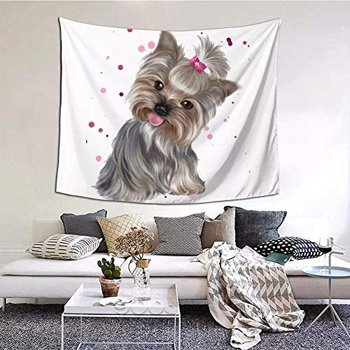 Tapiz Impresión 3D Lindo Yorkshire Terrier Yorkshire Terrier Manta Cortina Manta Perro Animal Cachorro Pared Tejido de poliéster Decoración del hogar