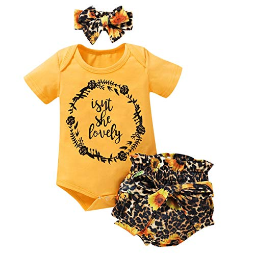 IWEMEK Newborn Toddler Baby Girls Summer Clothes Set Ruffle Short Sleeve Romper Top + Floral Shorts Pants + Bowknot Headband 3PCS Birthday Outfits Yellow Garland 0-3 Months
