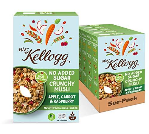 W.K. Kellogg Crunchy Müsli Apple, Carrot & Raspberry | Früchte Müsli ohne Zuckerzusatz | 5er Vorratspackung (5 x 380g)