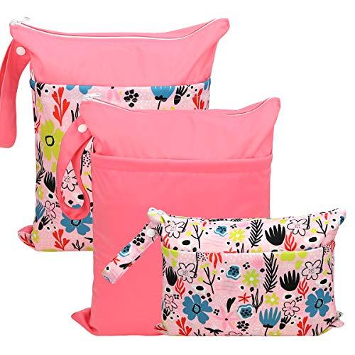 Hola Sprout Grab and Go - Bolsas de pañales de tela húmeda, lavable y reutilizable (bolsa simple, flor soñadora)