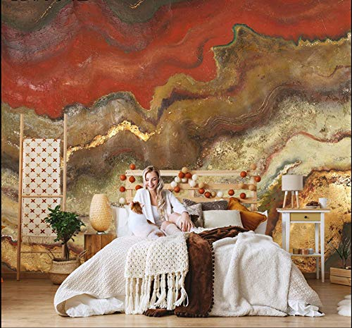Fotomurales Patrón de mármol rojo marrón Fotomural Vinilo Decorativo | Papel pintado tejido no tejido Decoración de Pared decorativos Murales moderna Diseno Fotográfico 200x150 cm -4 pieces