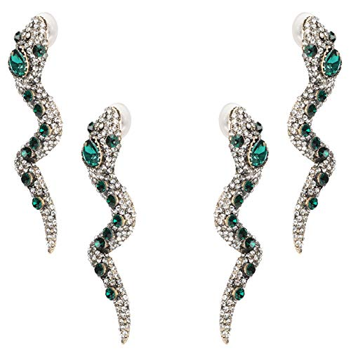 Atyhao Pendientes de Serpiente de 4 Piezas, Pendientes de Lujo con Estilo Salvaje de Metal de Moda, Pendientes de Gota con Joyas en Forma de Serpiente para Mujeres y niñas