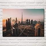 Amrzxz 1000 Piezas de Rompecabezas para niños Vista de la Puesta de Sol de la Ciudad de Dubai 75x50cm Herramienta de Rompecabezas de Ejercicio Cerebral Regalo del Día de la Madre