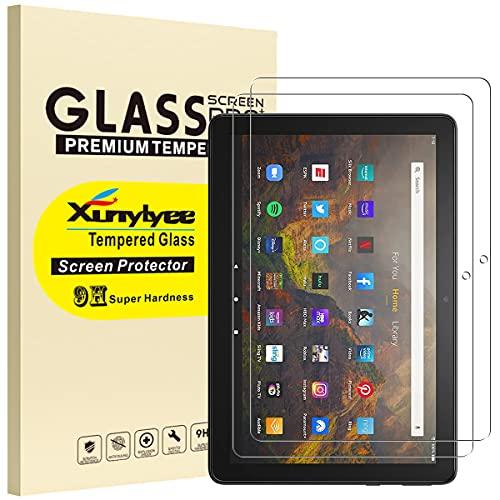 XunyLyee [2 Stück] Panzerglas Schutzfolie Kompatibel mit Das neue Fire HD 10-Tablet (10,1 Zoll), Gehärtetem Glas Displayschutz für Fire HD 10 Plus (2021 Release 11. Generation)