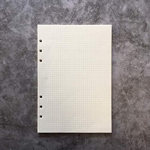 8.5インチプラスチック A5 6穴カバー ラウンドリングビューバインダー ファイルフォルダー ルーズリーフシートプロテクター/ノートブック リフィル/DIYスクラップブック/バインダーカバープロテクター,A5 方眼罫手帳リフィル,1パッケージ