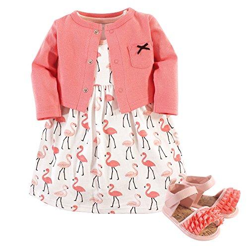 Hudson Baby Girls' Cotton Dress, Cardigan and Shoe Set, Flamingos, 0-3 Months