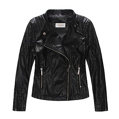 LJYH Girls'Faux Leather Quilted Shoulder Motorcycle Jacket Black