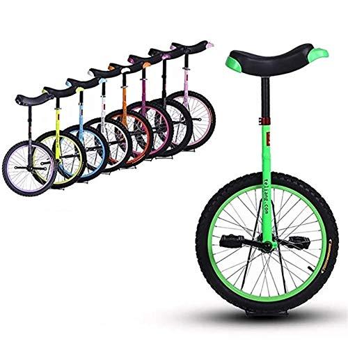 Einrad 18-Zoll-Rad Einrad für Kinder/Jugendliche/Anfänger/Trainer, 12-15-jährige Kinder, Fahrräder mit Bequemem Sattel (Color : Green)