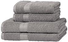 Amazon Basics - Juego de toallas (colores resistentes, 2 toallas de baño y 2 toallas de manos), color gris