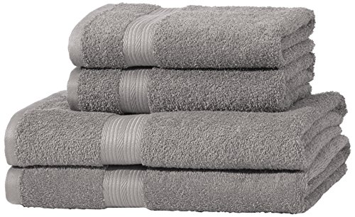 AmazonBasics - Set di 2 asciugamani da bagno e 2 asciugamani per le mani che non sbiadiscono, colore Grigio