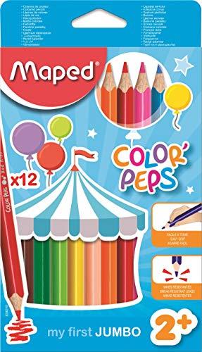 Maped Color'Peps Crayons de Couleur Maxi pour Enfants, Premiers Crayons de Coloriage pour Bébé +2 ans – Boîte de 12 crayons Jumbo Assortis
