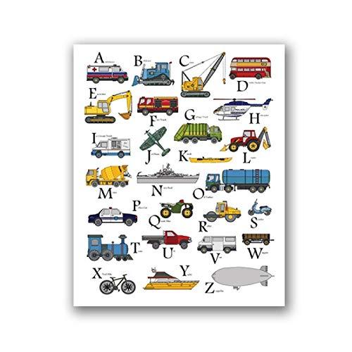 HYFBH ABC Trasporti Stampa Edilizia Camion Poster Scuola Materna Alfabeto Arte Tela Pittura Ragazzi Bambini Aula Toddlers Decor 70x90cm (28x35in) Cornice Interna