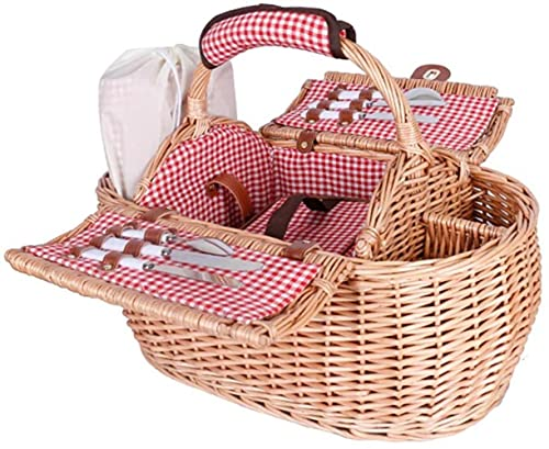 Cesta de picnic cesta de picnic 2 gran capacidad tejido cesta de la compra al aire libre salvaje cesta de almacenamiento (color: beige, tamaño: 532822cm)