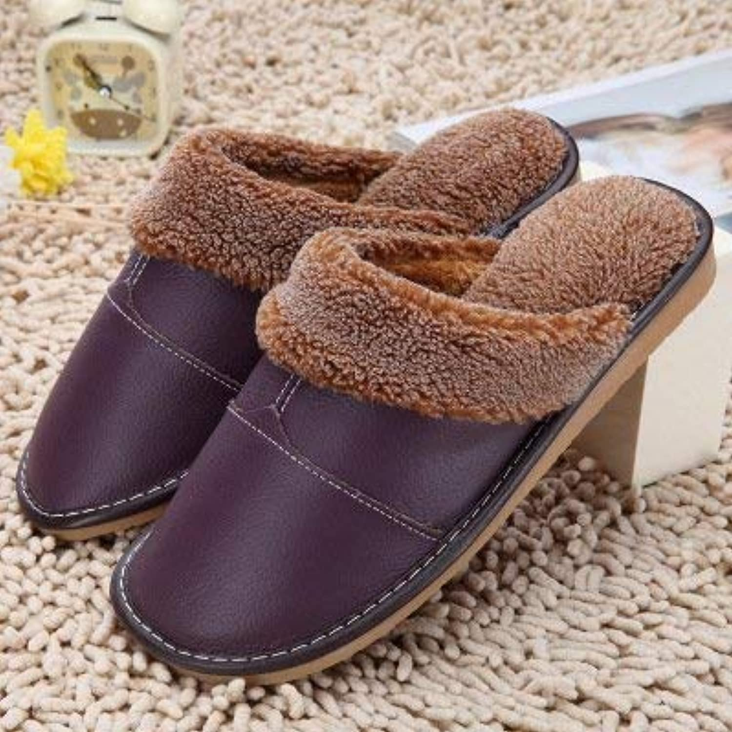 GouuoHi Womens Slippers Ladies Casual Faux-Leather Slippers in Autumn and Winter The Indoor Warm Cotton Slippers orange pink Red Brown for Women