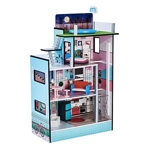 Teamson Kids TD-13111D Barcelona Dolls House Puppenhaus, blau
