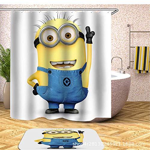 nobranded Gelbe Duschvorhänge Mischievous Minions Series Duschvorhänge Badvorhang Polyester Wasserdichtes Badezimmer