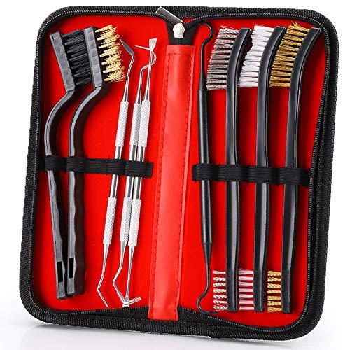 Accmor Gun Cleaning Brush & Pick Kit, Gun Cleaner Tool Set Including Double-Ended Brass Steel Nylon Bristle Brushes, Stainless Steel & Polymer Picks