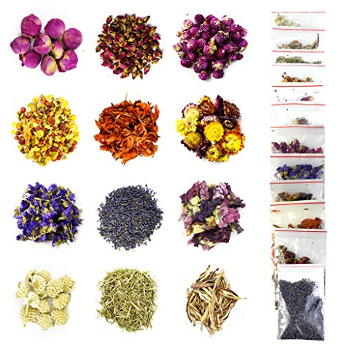 12 Bags Dried Flowers (10g/Bag) Natural Flower Soap Making Scents Candle Making Kits Include Dried Lavender Rose Petals Jasmine Flower Lily Linn Chrysanthemum for Cake Decorations