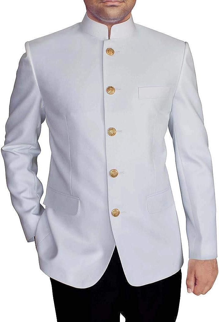 INMONARCH Mens White 2 Pc Mandarin Collar Jodhpuri Suit JO419