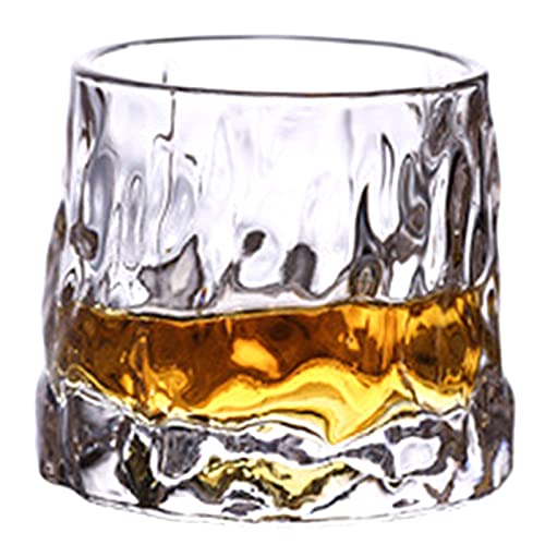 Taowan Vaso de vidrio giratorio superior vaso de corteza de vidrio patrón de vidrio de vino extranjero vidrio de whisky duradero e interesante