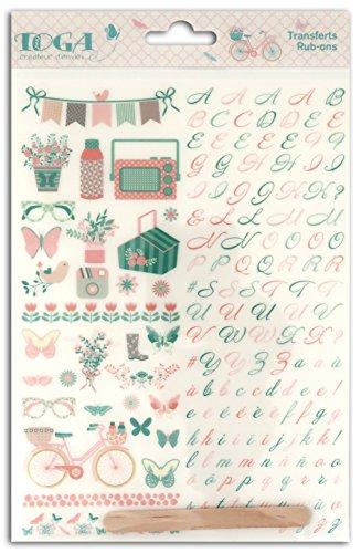 Toga Paulette ROP86, Transferts Décalcomanies Rub-ons, Plastique, Rose / Vert, 15 x 20 x 0.1 cm