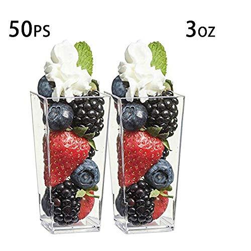 Tazas de postre de plástico transparente, forma cuadrada, 3 onzas, 50 unidades, mini tazas, tazas de chocolate para postres | Mini vasos de plástico [Mini Maravillas]