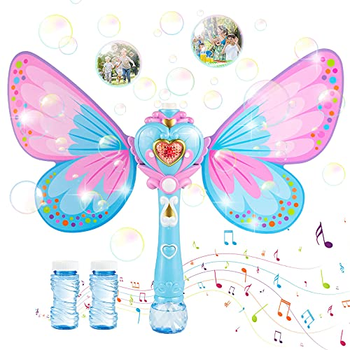 Maquina Burbujas para Niños, Soplador de Pompas Jabon Bubble Maker para Niños y Adultos, Hadas Mariposa Máquina de Burbujas Varita Hadas con Música y Luz, Botellas de Burbujas Incluida Pompas