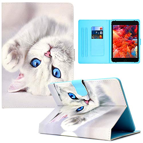Universal 7.0' Tablet Case, PU Leather Case Card Slots Folio Multi-Angle Stand Cover for Samsung Galaxy Tab E 7.0/ Tab A 7.0/ Fire 7.0 / Lenovo/RCA/Fire 7.0 and More 7.0 inch Tablet -White Cat