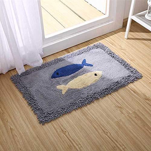 Rutschfester Teppich Chenille Tufting-Matte Fisch, Saugfähige rutschfeste Badematte, 50 * 80cm Teppich zu Hause