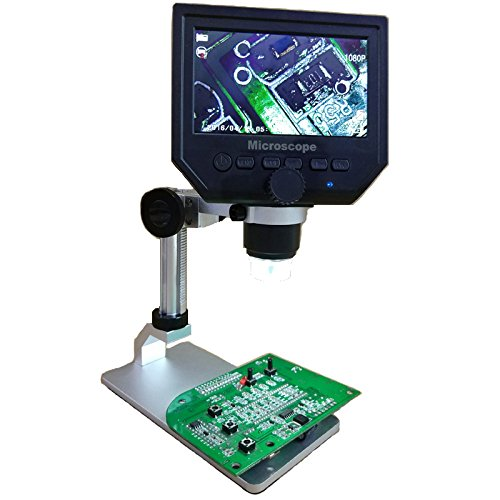 Digital Microscope Mustool G600 Digital 1-600X 3.6MP 4.3inch HD LCD Display Continuous Magnifier with Aluminum Alloy Stand Upgrade Version