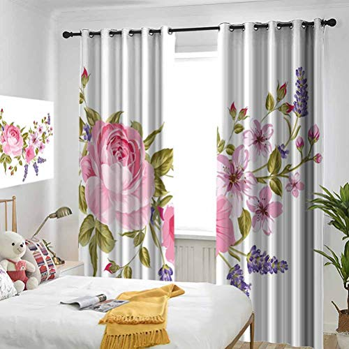 Lavender Bridal Style Garland of Rose Sakura and Lavender Vintage Artistic Bouquet Flora Multicolor The Living Room has Powerful Blackout Curtains 2 Panels per Group W84 x L72 Inch