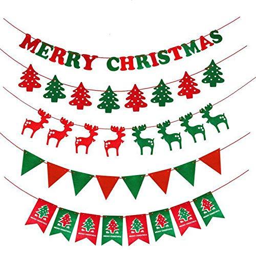 クリスマス 飾り付け 5種類セット クリスマスガーランド サンタクロース 靴下 ツリー 飾り パーティー 店舗...