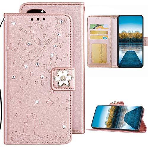 Samsung Galaxy S6 Edge Hülle Leder Tasche Flip Case Glitzer Bling Diamant Brieftasche Schutzhülle,Katze Kirschblüten Muster Klapphülle Handyhülle mit Kartenfächer für Galaxy S6 Edge,Roségold