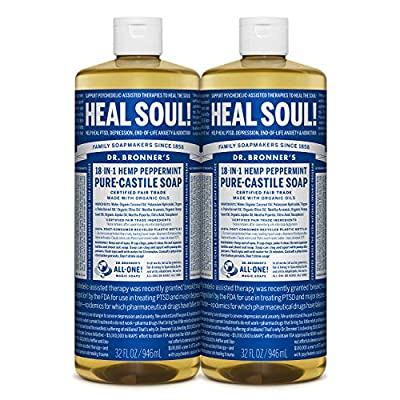 Dr. Bronner Magic Soaps Pure-Kastilien Seife, 18-in-1 Hemp Pfefferminze, 32-Unzen-Flaschen (2er Pack)