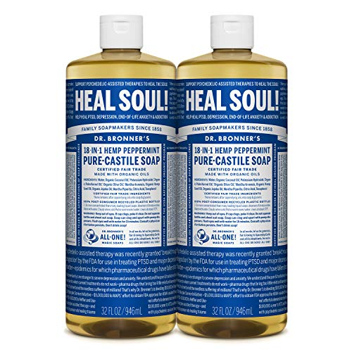Dr. Bronner's - Pure-Castile Liquid Soap (Peppermint, 32 ounce, 2-Pack) - Made...
