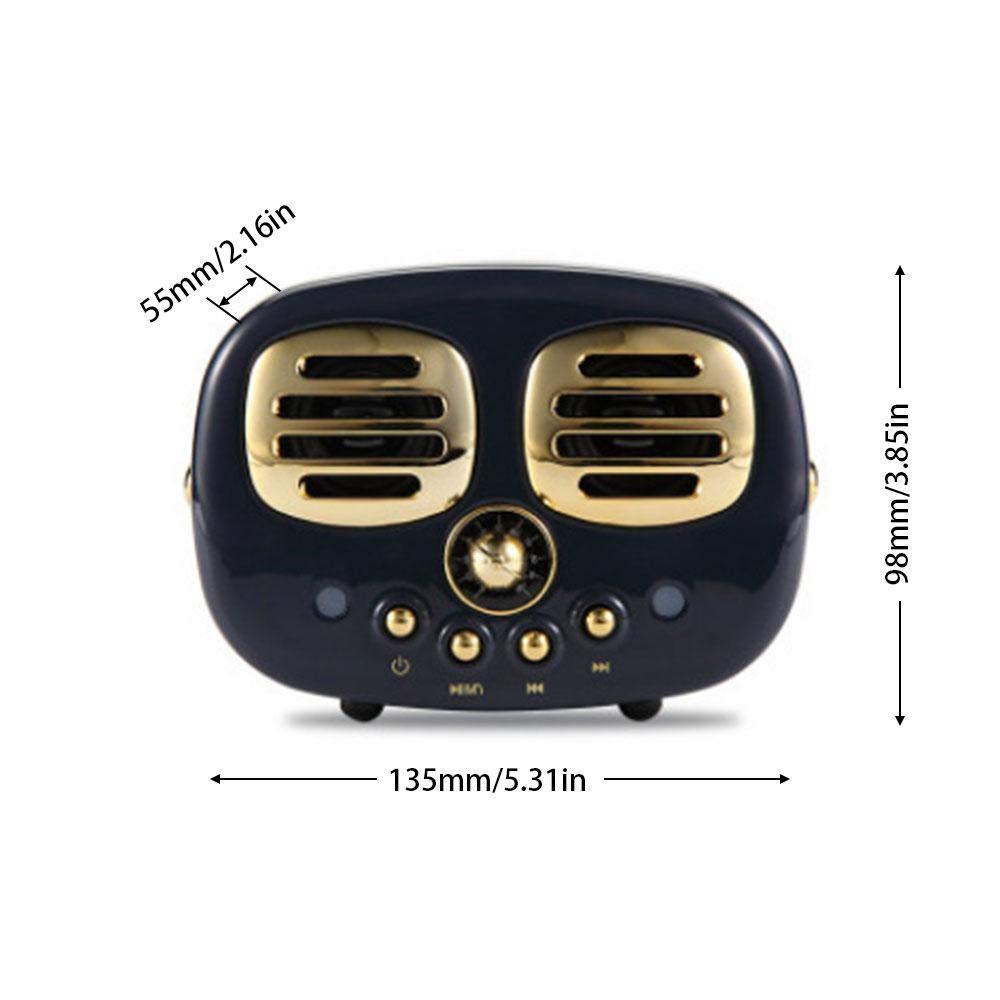 KOBWA Altavoz inalámbrico, Altavoz portátil Retro inalámbrico, versión actualizada HM12 sonido estéreo Rico graves de doble cuerno clásico estilo retro diseño para teléfono, mejor idea de regalo: Amazon.es: Hogar