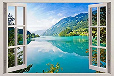 Turquoise Lake 3D Window Decal Wall Sticker Art Mural Nature Landscape J397