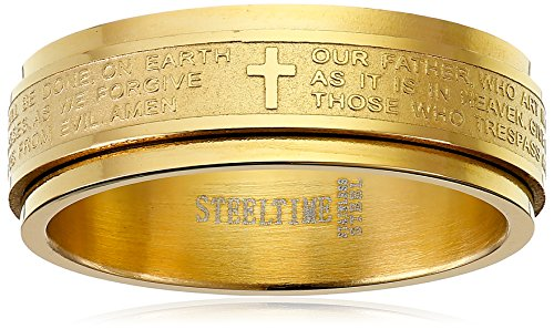 Steeltime Men's Stainless Steel Our Father Prayer Spinner Band Ring, Size 7
