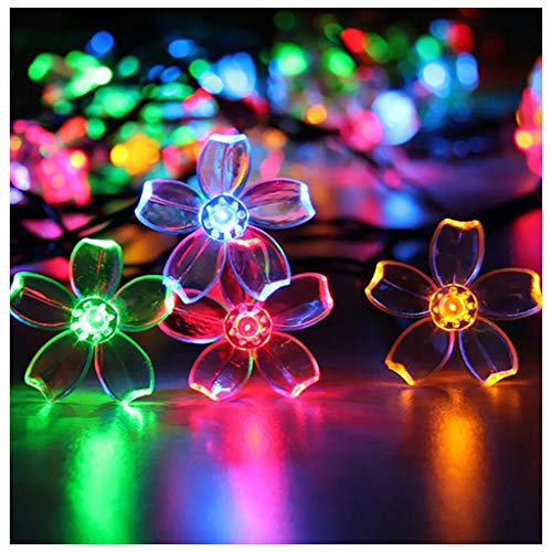 N / A 5m/20LED Peach Blossom Light Outdoor Waterproof Solar Colorful Garden Light for Garden Lawn and Courtyard Passage Decoration