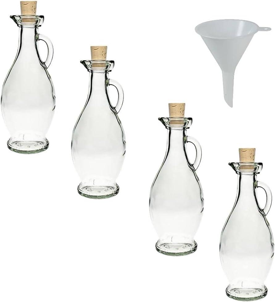 Viva Haushaltswaren - Lote de 4 elegantes botellas (250 ml tapón de corcho embudo de 7 cm de diámetro)